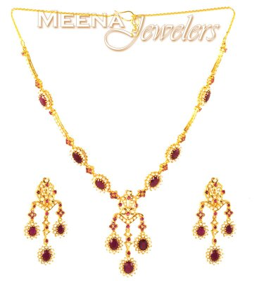 22 Kt Gold Ruby and Pearl Set ( Combination Necklace Set )