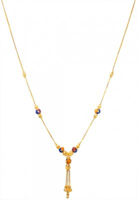 22k Gold Meena Chain For Girls ( 22Kt Gold Fancy Chains )