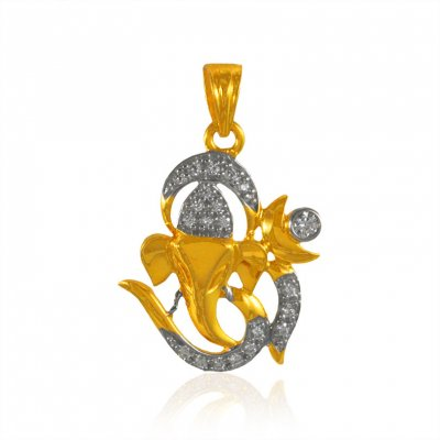 22k Gold Ganesha Pendant with  CZ ( Ganesh, Laxmi and other God Pendants )