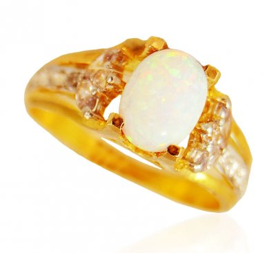 22k Gold Designer Opal Ring  ( Ladies Rings with Precious Stones )