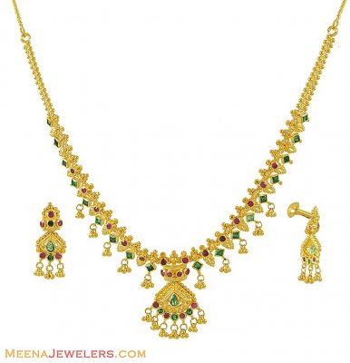 22K Ruby, Emerald Set ( Combination Necklace Set )
