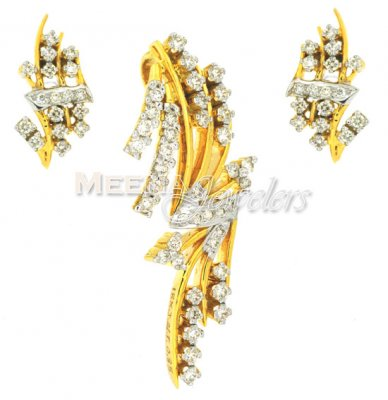 Gold Fancy Diamond Pendant Set ( Diamond Pendant Sets )