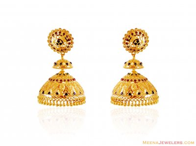 Meenakari Gold Jhumki Earrings ( 22Kt Gold Fancy Earrings )