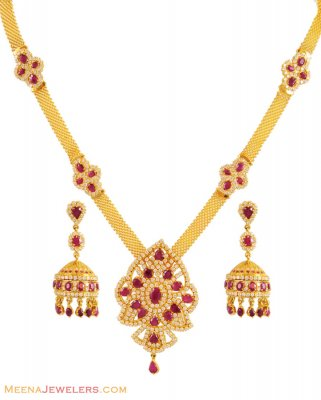 Ruby Necklace Set (22 Karat Gold) ( Combination Necklace Set )