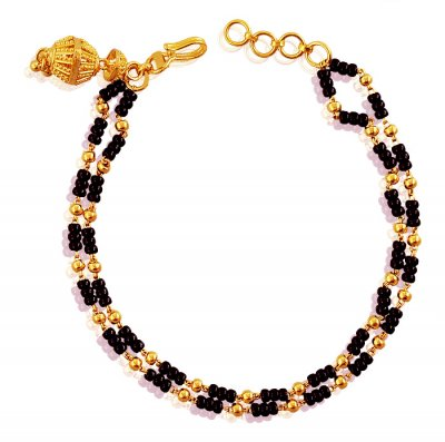 Gold Black Beads Bracelet  ( Ladies Bracelets )