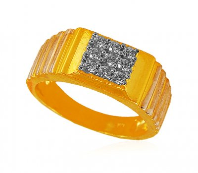 Gold Two Tone Mens Ring ( Mens Signity Rings )