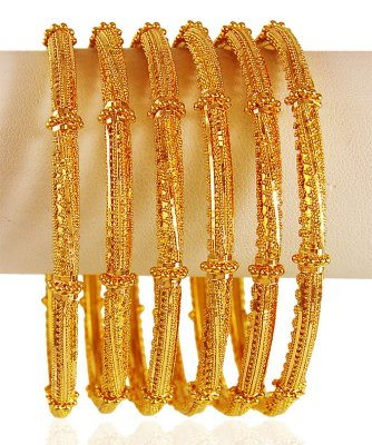 22k  Pipe Bangles (6PCs) ( Set of Bangles )