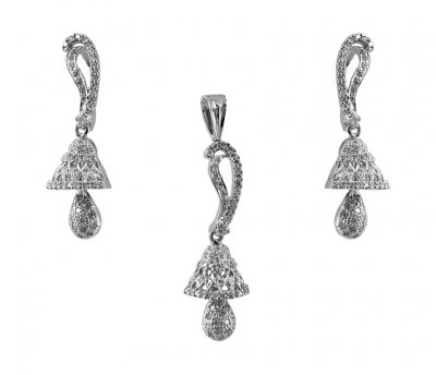 18K White Gold Diamond Pendant Set ( Diamond Pendant Sets )