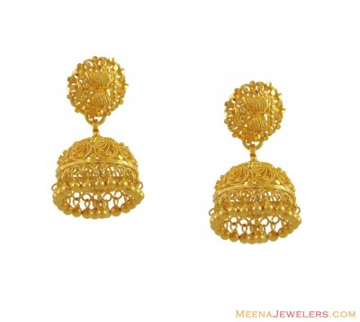 22K Gold Chandelier Earrings ( 22Kt Gold Fancy Earrings )