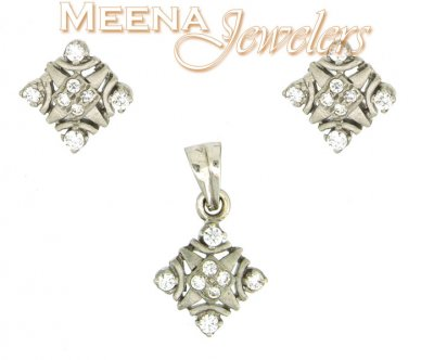 22Kt White Gold Pendant Set ( White Gold Pendant Sets )