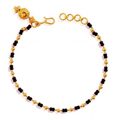 22K Gold Black Beads Bracelet  ( Ladies Bracelets )