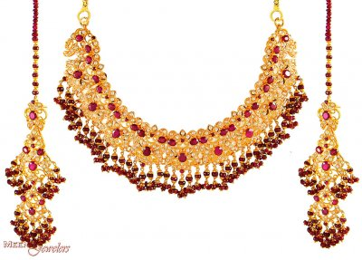 Gold Set with Ruby and Pearls ( Combination Necklace Set )