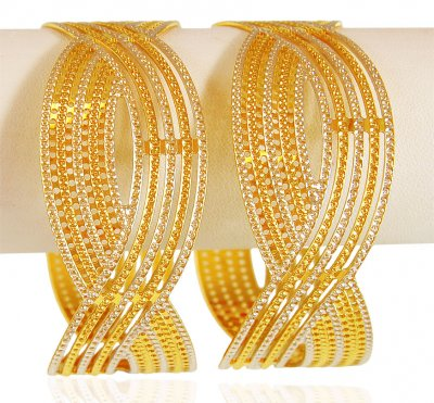 22k Gold Two Tone kada (1PC) ( Two Tone Bangles )
