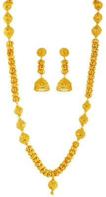 22Kt Gold Long Necklace Set ( 22 Kt Gold Sets )