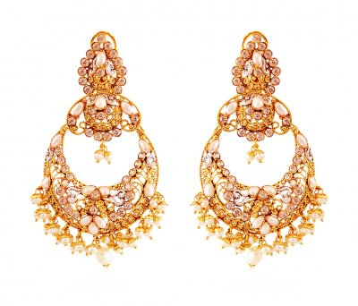 22Kt Gold Pearl Chand bali Earrings ( Exquisite Earrings )
