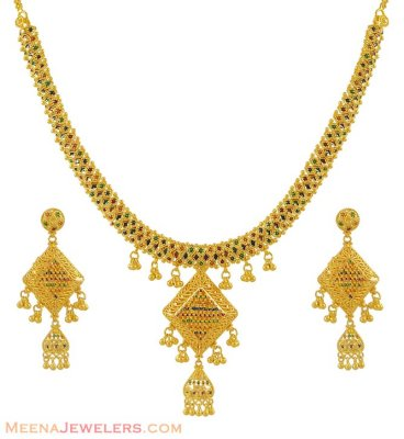 22k Exclusive Meenakari Set ( 22 Kt Gold Sets )