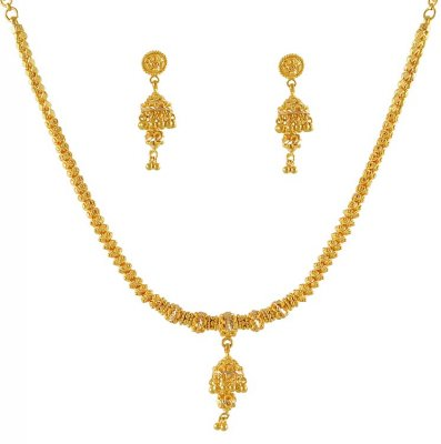 22K Yellow Gold Three Piece Necklace Set ( 22 Kt Gold Sets )