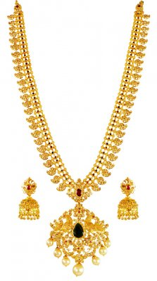 22k Uncut Diamond Long Set ( Diamond Necklace Sets )