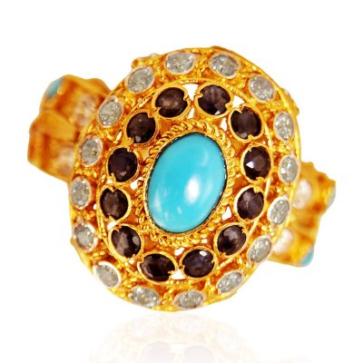 22K Gold Antique  Ring  ( Ladies Rings with Precious Stones )