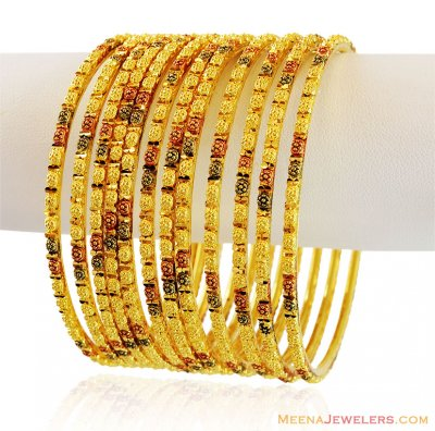 Multi Tone Gold Bangles Set ( Set of Bangles )