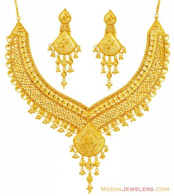 22K Fancy Yellow Gold Necklace Set  ( Bridal Necklace Sets )