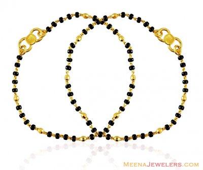 Gold Baby Bracelet With Black Beads Bjbb15034 22k Gold