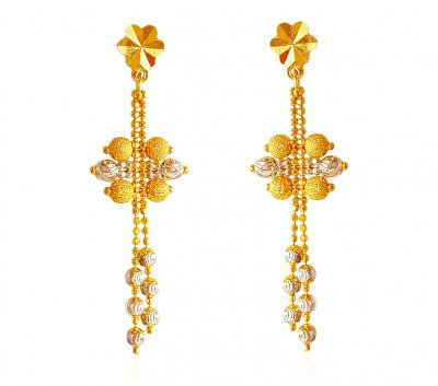 Two Tone 22K Earrings ( 22Kt Gold Fancy Earrings )