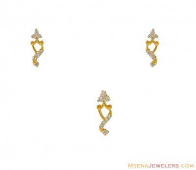Gold Tiny Pendant and Earring Set ( Fancy Pendant Set )