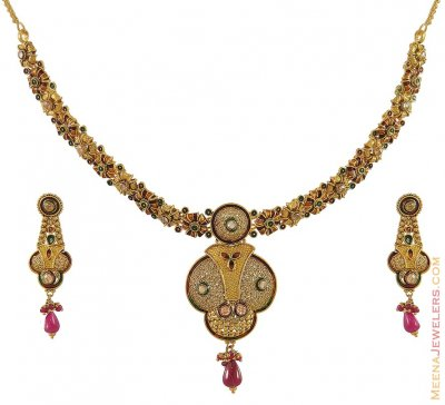 Indian Antique Necklace Set (22Kt) ( Antique Necklace Sets )