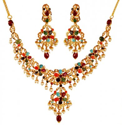 22K Gold Designer Necklace Set ( Precious Stone Sets )