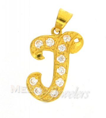 22Kt Gold Pendant with Initial(J) ( Initial Pendants )