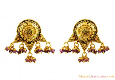 Fancy Meenakari Earrings 22k Gold ( 22 Kt Gold Tops )