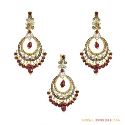 Fancy Ruby Pendant Set 22K ( Precious Stone Pendant Sets )