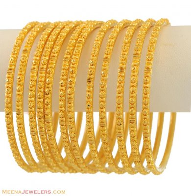 22K Yellow Gold Churi Set (12 Pcs) ( Set of Bangles )