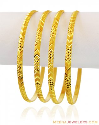 22K Solid Gold Bangles (4 Pc) ( Set of Bangles )