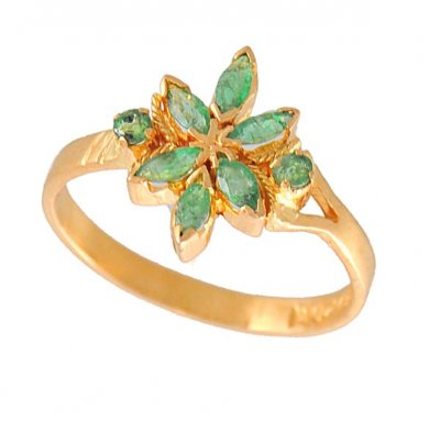 Gold Ring with Emerald ( Ladies Rings with Precious Stones )