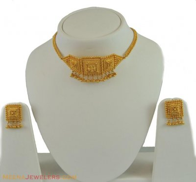 22k Gold Necklace Earring Set ( 22 Kt Gold Sets )