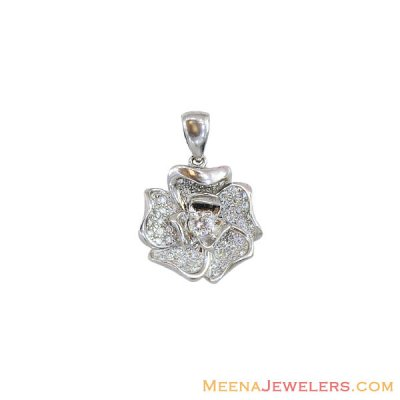 White Gold Floral Design Pendant ( Fancy Pendants )