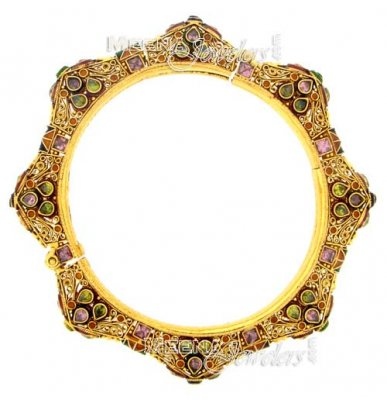 22 Kt Antique Gold Bangles Enamel With Semi Precious Stone ( Antique Bangles )
