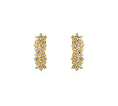22K Fancy CZ Earrings ( Precious Stone Earrings )