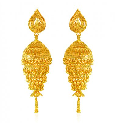 Jhumki Earrings 22 Karat Gold ( Exquisite Earrings )