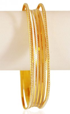 22K Rhodium Square kada ( Two Tone Bangles )