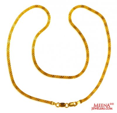 22Kt Gold plain Chain (16 In) ( Men`s Gold Chains )
