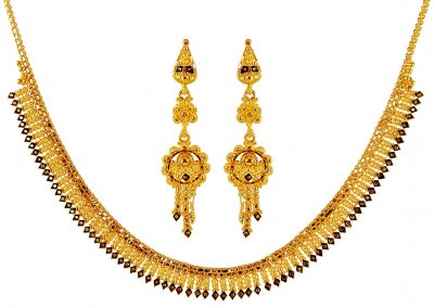 22K Gold Meenakari Necklace Set ( Light Sets )