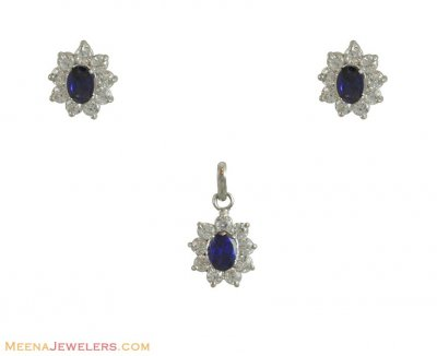 Fancy Pendant Set (White Gold) ( White Gold Pendant Sets )
