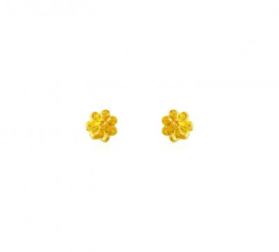 Fancy 22k Gold baby Earrings ( 22 Kt Gold Tops )