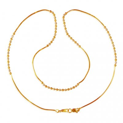 22k  Gold Two Tone Chain ( 22Kt Gold Fancy Chains )