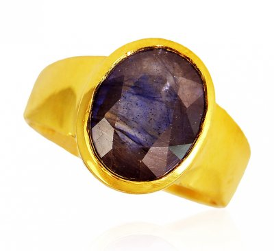 22KT Gold Blue Sapphire Ring ( Ladies Rings with Precious Stones )