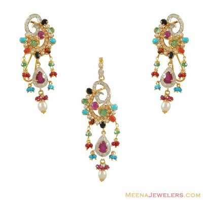 22K Gold Colorful Pendant Set ( Precious Stone Pendant Sets )