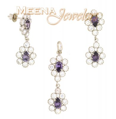 22k Gold Pendant and Earrings Set with CZ and Purple Tourmalines ( White Gold Pendant Sets )